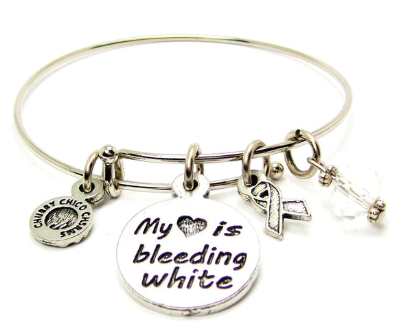 My Heart is Bleeding White with Awareness Ribbon Bangle Bracelet