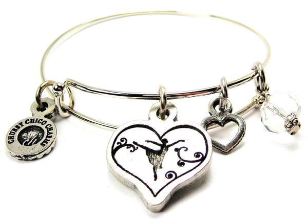 Ballerina Silhouette Heart Bangle Bracelet