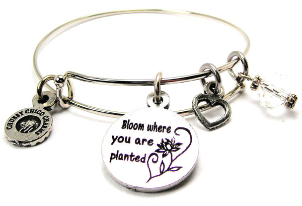 Bloom Where You Are Planted Bangle Bracelet