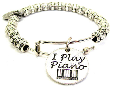 I Play Piano Metal Beaded Bracelet