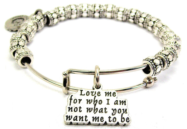 Love Me For Who I Am Metal Beaded Bracelet