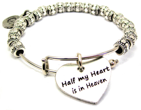 Half My Heart Is In Heaven Metal Beaded Bracelet
