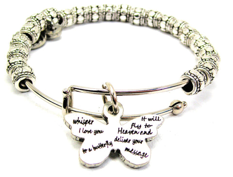 Whisper I Love You To A Butterfly Metal Beaded Bracelet