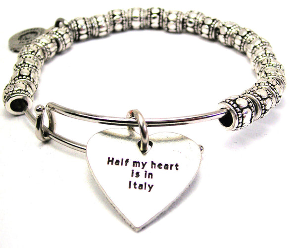 Half My Heart Is In Italy Metal Beaded Bracelet