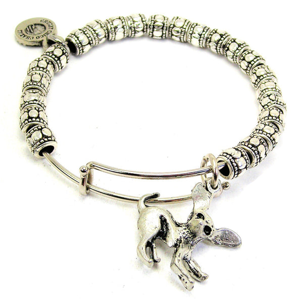 Crazy Chihuahua Metal Beaded Bracelet