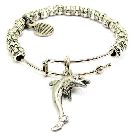 Dancing Dolphin Metal Beaded Bracelet