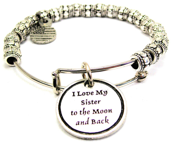 I Love My Sister To The Moon And Back Metal Beaded Bracelet