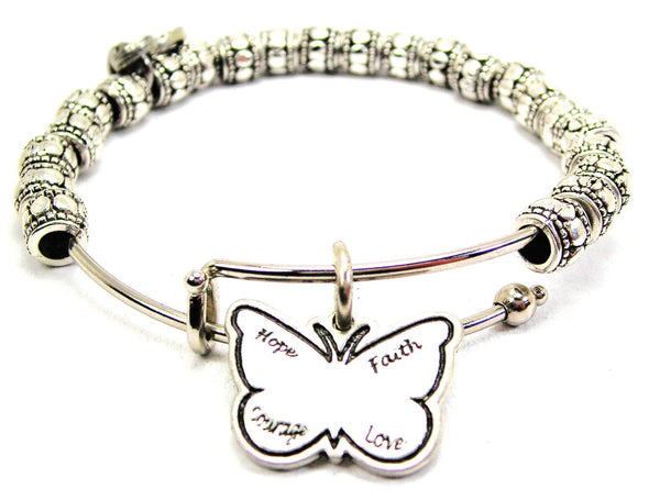 Hope Faith Courage Love Butterfly Metal Beaded Bracelet