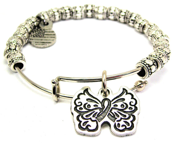 Filigree Butterfly With Hidden Awareness Ribbon Metal Beaded Bracelet