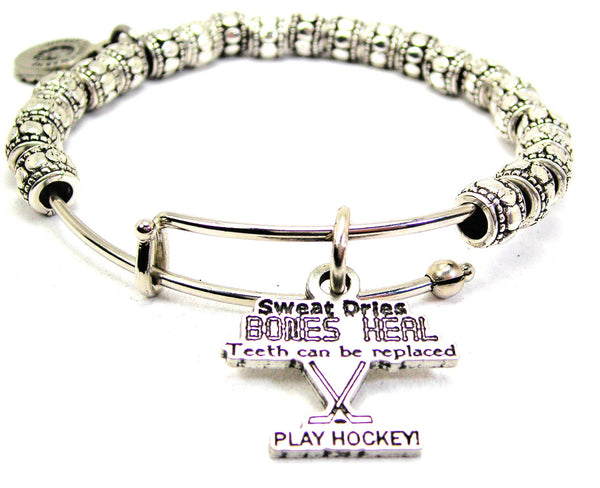 Sweat Dries Bones Heal Play Hockey Metal Beaded Bracelet