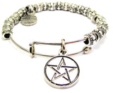Pentacle Metal Beaded Bracelet