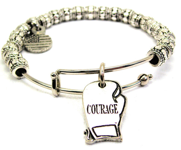 Courage Boxing Glove Metal Beaded Bracelet
