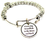I Love My Grandkids To The Moon And Back Metal Beaded Bracelet