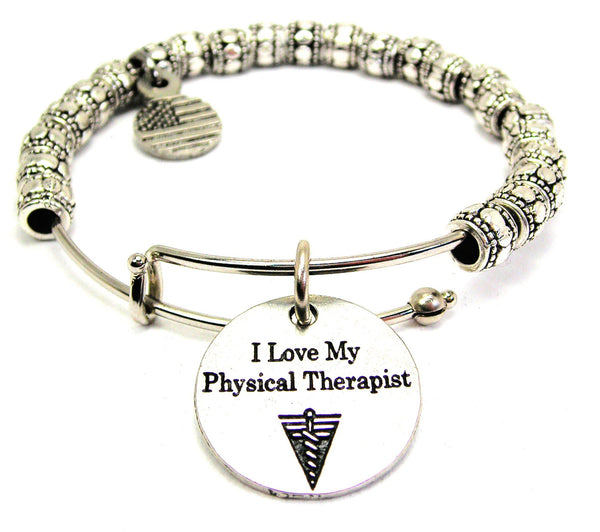 I Love My Physical Therapist Metal Beaded Bracelet