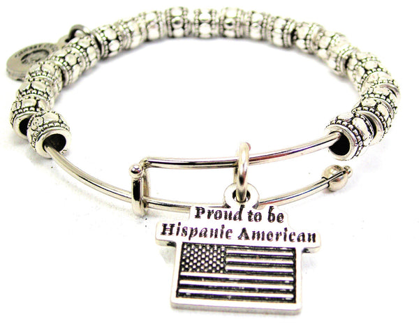 Proud To Be Hispanic American Metal Beaded Bracelet
