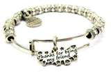 Thanks For Being My Friend Metal Beaded Bracelet