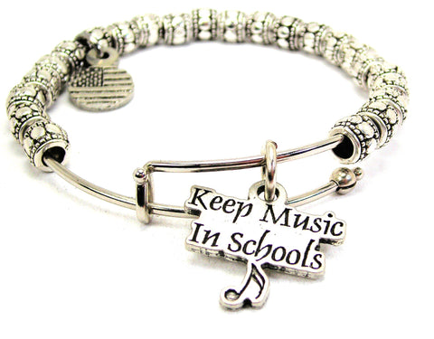 Keep Music In Schools Metal Beaded Bracelet