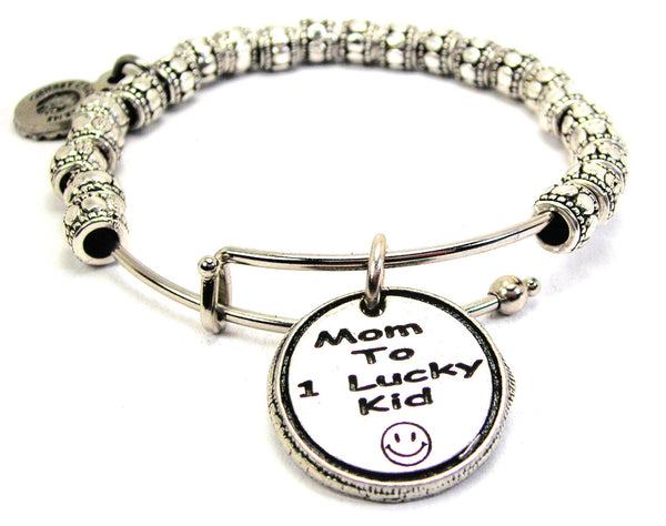 Mom To One Lucky Kid Metal Beaded Bracelet