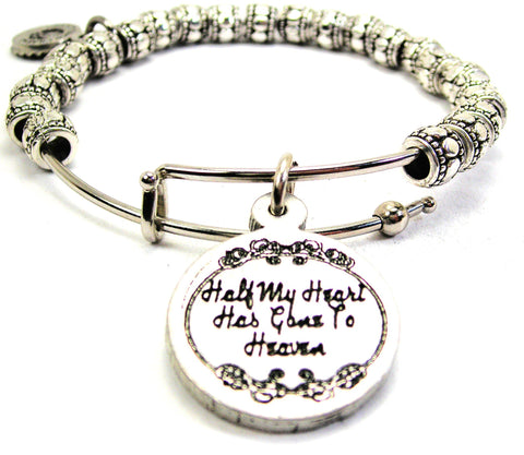 Half My Heart Has Gone To Heaven Metal Beaded Bracelet