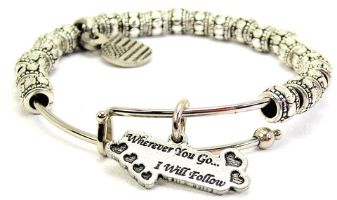 Wherever You Go I Will Follow Metal Beaded Bracelet