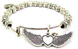 Flying Heart With Wings Metal Beaded Bracelet