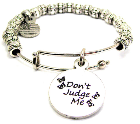 Don't Judge Me Metal Beaded Bracelet