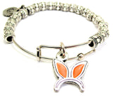 Hand Painted Bunny Ears Headband Orange Metal Beaded Bracelet