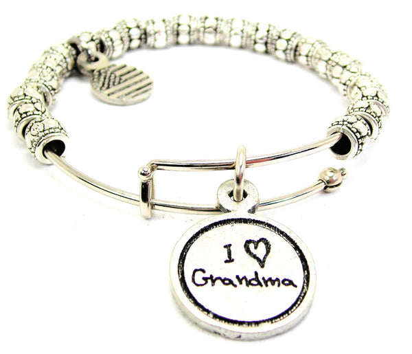 I Love Grandma Metal Beaded Bracelet