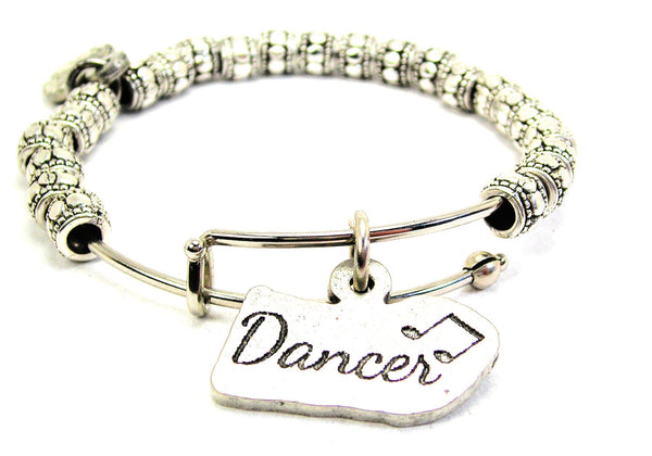 Dancer With Music Note Metal Beaded Bracelet