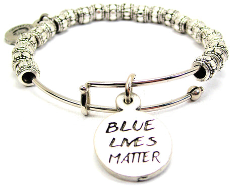 Blue Lives Matter Metal Beaded Bracelet