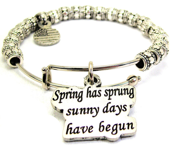 Spring Has Sprung Sunny Days Have Begun Metal Beaded Bracelet