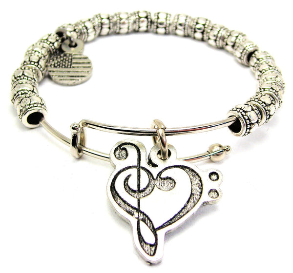 Bass Clef Treble Clef Heart Metal Beaded Bracelet