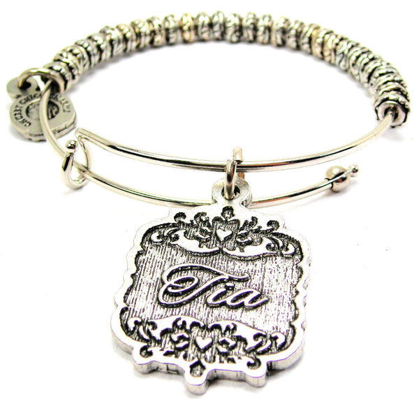 Tia Victorian Scroll Metal Beaded Bracelet