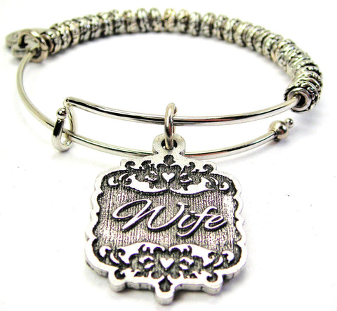 Wife Victorian Scroll Metal Beaded Bracelet