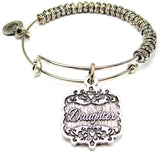 Daughter Victorian Scroll Metal Beaded Bracelet