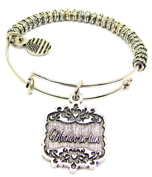 Mother-In-Law Victorian Scroll Metal Beaded Bracelet