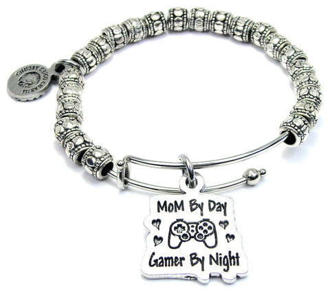 Mom By Day Gamer By Night Metal Hand Beaded Bangle Bracelet