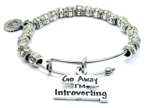 Go Away I'm Introverting Metal Hand Beaded Bangle Bracelet