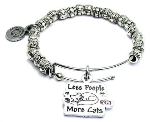 Less People More Cats Metal Hand Beaded Bangle Bracelet