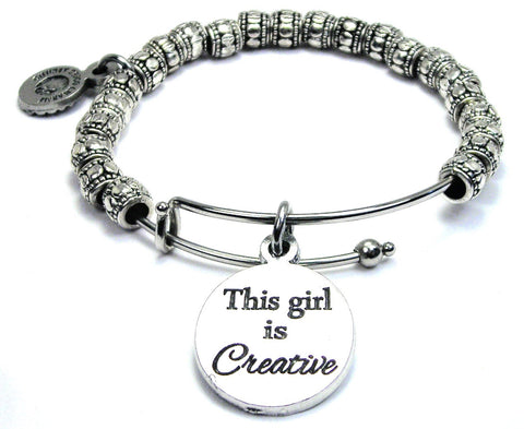 This Girl Is Creative Metal Hand Beaded Bangle Bracelet