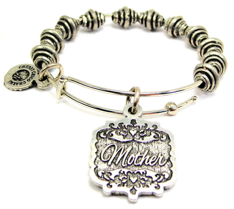 Mother Victorian Scroll Spiral Beaded Bracelet