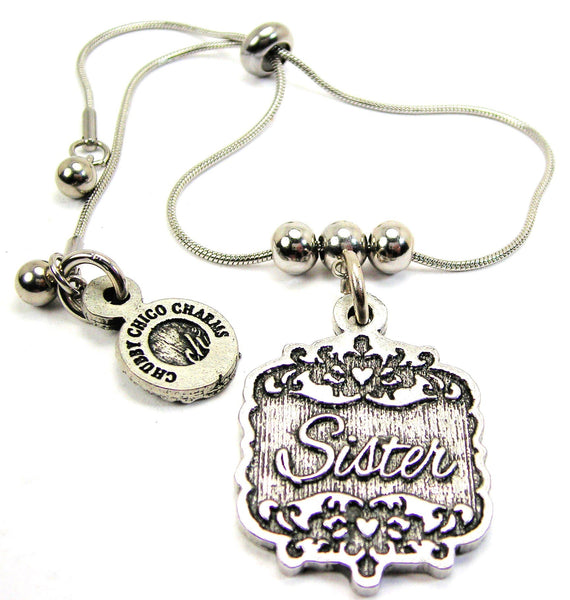 Sister Victorian Scroll Slide Chain Bracelet