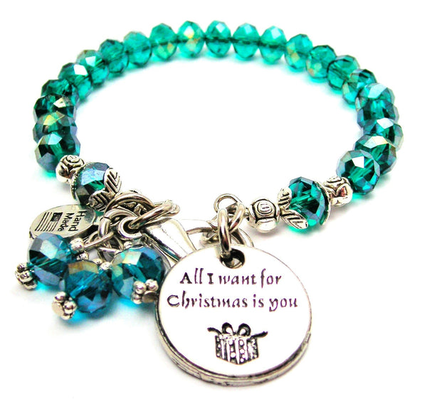 all i want for christmas is you,  christmas bracelet,  christmas jewelry,  christmas charm,  all i want for christmas bracelet,  crystal bracelet,  holiday jewelry