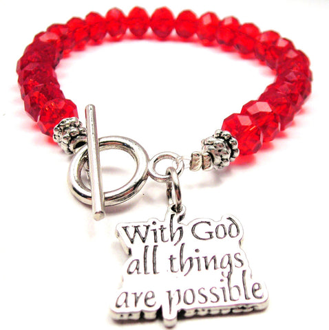 With God All Things Are Possible,  God Charm,  Religious Jewelry,  Religious Bracelet,  God Bracelet,  Crystal Bracelet,  Toggle Bracelet