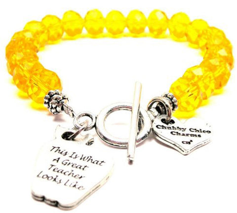 This Is What A Great Teacher Looks Like,  Teacher Charm,  Teacher Bracelet,  Teacher Jewelry,  Teacher Gifts,  Crystal Bracelet,  Toggle Bracelet