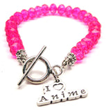 I Love Anime Crystal Beaded Toggle Style Bracelet