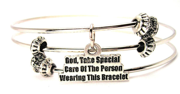God, Take Special Care Of The Person Wearing This Triple Style Expandable Bangle Bracelet