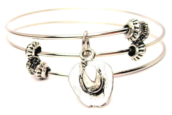 Cowboy Hat Triple Style Expandable Bangle Bracelet