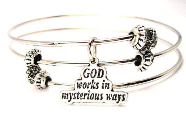 God Works In Mysterious Ways Triple Style Expandable Bangle Bracelet