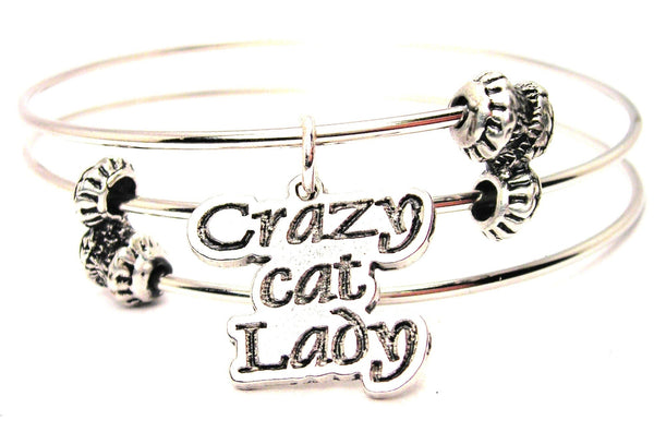 Crazy Cat Lady Triple Style Expandable Bangle Bracelet